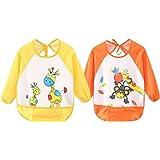 Leyaron 2 Pack Unisex Infant Toddler Baby Waterproof Sleeved Bib, 6 Months-3 Years, Orange Monkey and Yellow Giraffe