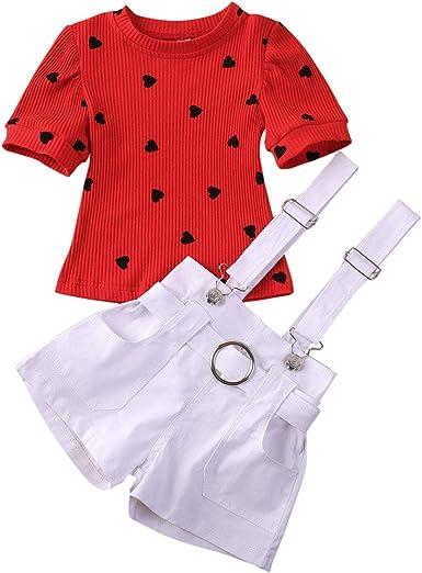 2 Piezas para bebés, niñas, San Valentín, Manga Corta roja ...