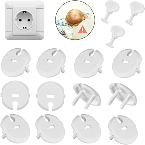 MiniMochi Protector Enchufes Bebes, Tapa Enchufes Seguridad Kit Protección Protectores de Cubierta Enchufe con Llaves para Niños Bebés, 12+3 Pcs: Amazon.es: Bebé