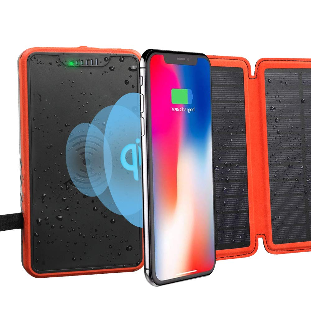 soyond Solar Qi Power Bank Solar Wireless Phone Charger Protable Qi Battery Pack 20000mAh Waterproof with Dual Ports for iPhone, Andriod Phone, iPad(Orange Wireless Charger) by soyond (Image #8)