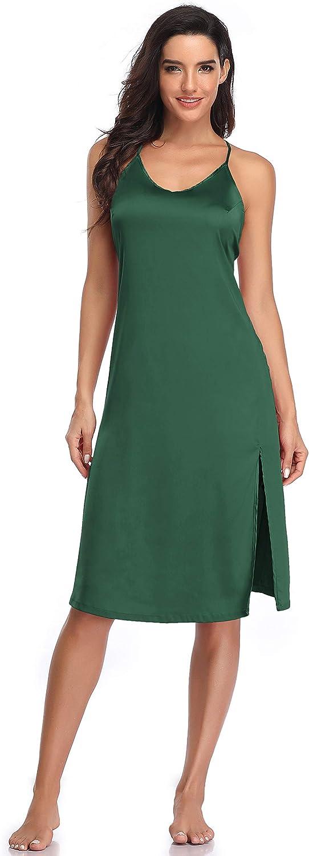SHEKINI Nuisette Satin Robe Longue Femme Chemises de Nuit Pyjama Lingerie Babydoll avec Fines Bretelles Ajustables