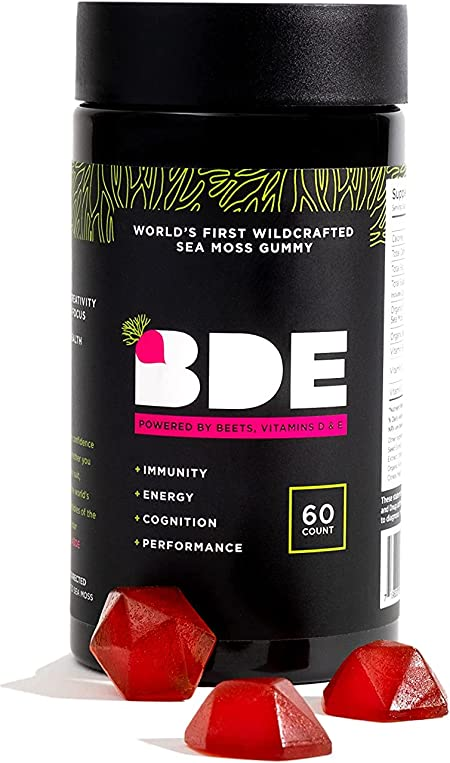 Wildcrafted Sea Moss Gummy by BDE - Maca Root, Beets, Lions Mane Mushroom, Vitamin D + E - Vegan Collagen, Zinc, Immunity & Detox, Gut Health - 1 Pack