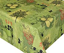58 x 78 Oblong Round Sorbet Green Provence Print Indoor/Outdoor Fabric Tablecloth
