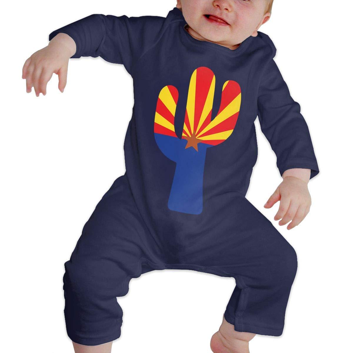 Arizona Flag in A Saguaro Cactus Newborn Baby Girl Infant Essential Basic Coveralls Jumpsuits