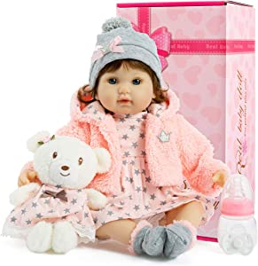 Kiki Doll collection Lifelike Reborn Baby Dolls 18 inch, Soft Realistic Silicone Vinyl Weighted Body, Children Gift Set with Clothes and Toy