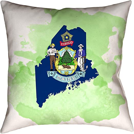 ArtVerse Katelyn Smith 26 x 26 Poly Twill Double Sided Print with Concealed Zipper /& Insert Nebraska Love Watercolor Pillow