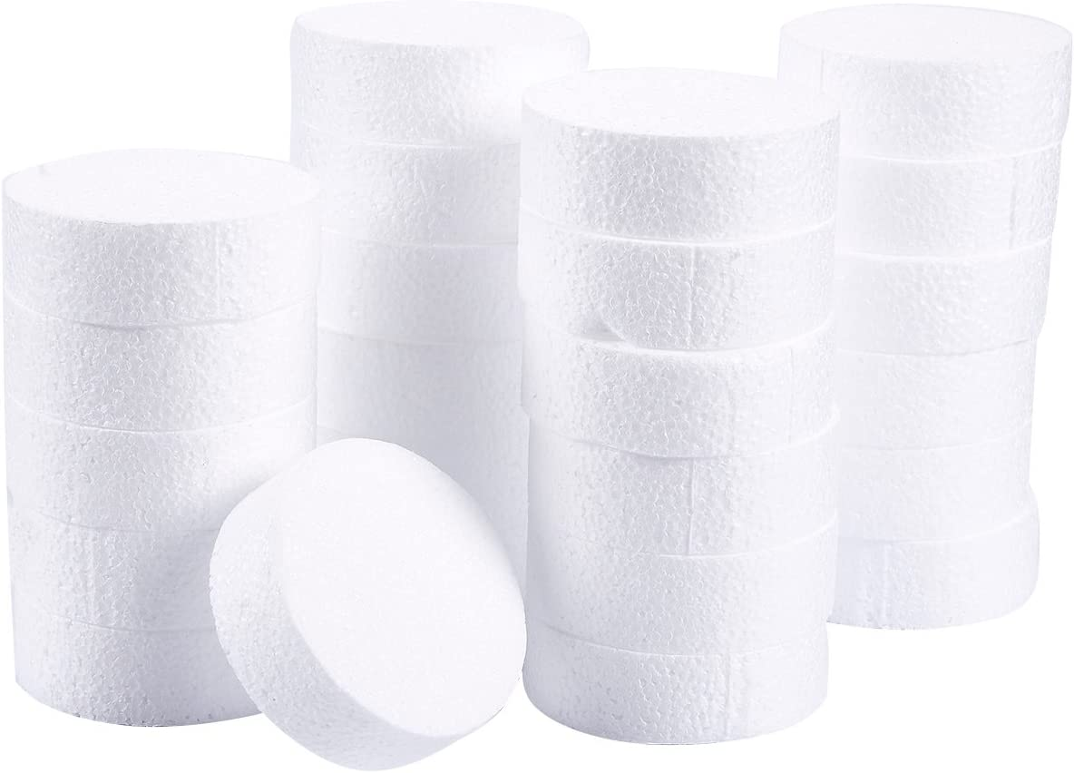 Foam Circles, Arts and Crafts Supplies (3 x 3 x 1 In, 24-Pack)