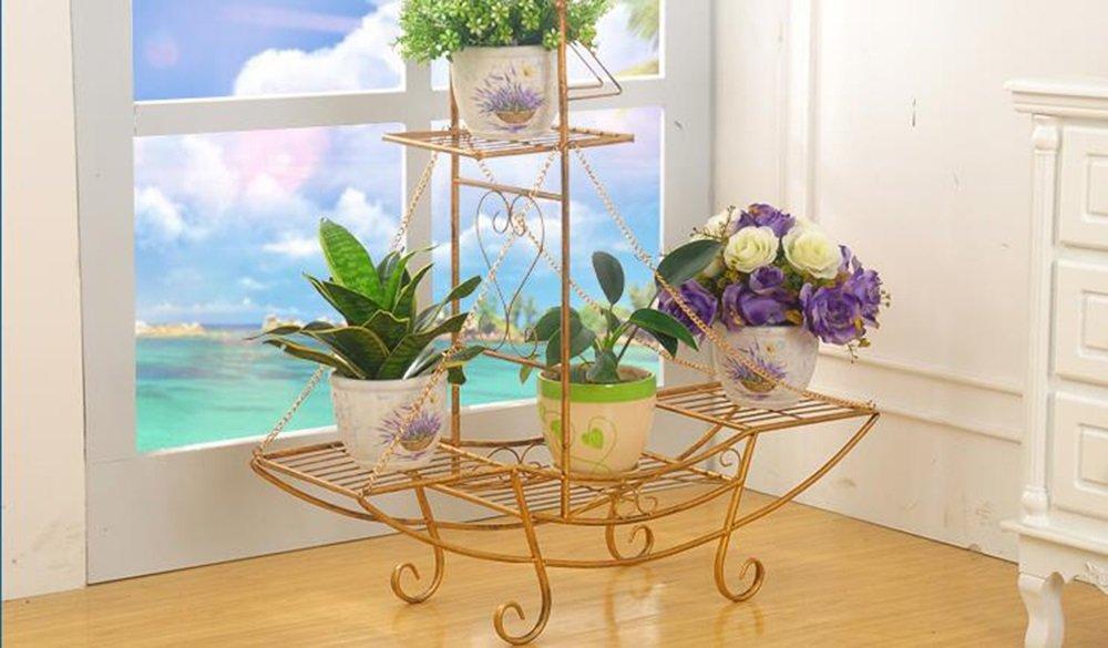 WEBO HOME- Eisen Blumenrahmen Boden Stil Blumentöpfe Europäische Mode Wohnzimmer Balkon Innen-und Außenbereich Multi-Geschoß Blumen Blume Regal -Regal ( Farbe : C , größe : 862390CM )