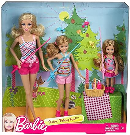 Amazon Com Barbie Sisters Fishing Fun Set Of 3 Barbie Stacie Chelsea Toys Games