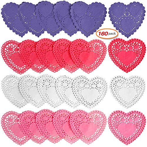 160pcs Doilies Lace Mini Paper Doilies Red Pink White Purple For Wedding Party Love Decoration Mother's Day Father's Day