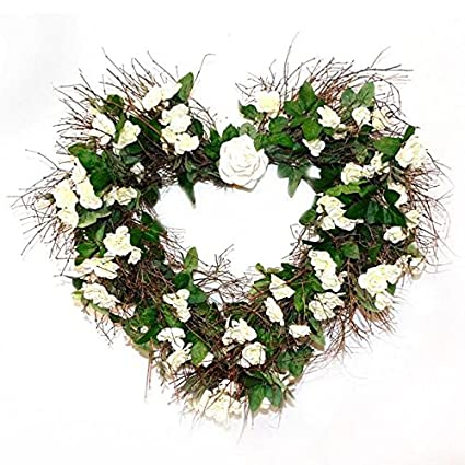 Amazon Com White Silk Rose Heart Floral Wreath For Front Door
