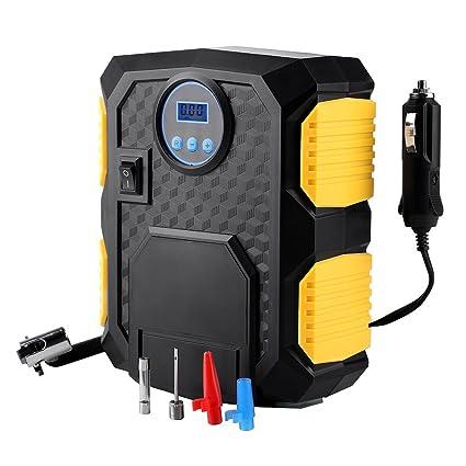 Mbuynow – Compresor de aire portátil – Inflador de neumáticos 12 V Digital con lámpara LED