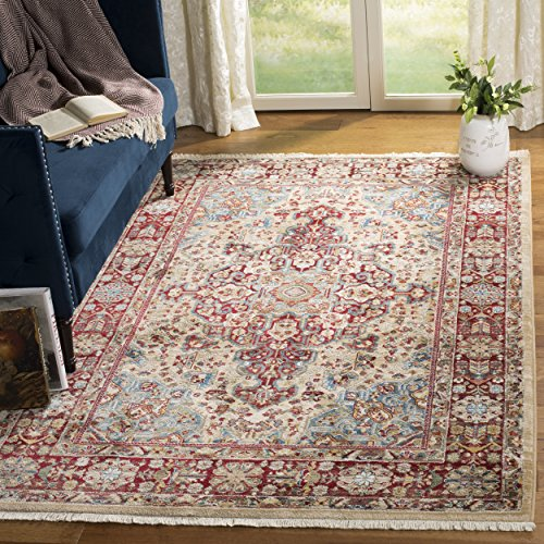 Safavieh Kashan Collection KSN305K Traditional Ivory and Red Area Rug (5'1