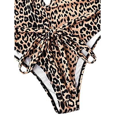 SweatyRocks Women's Sexy Bathing Suits Criss Cross Tie Knot Front Deep V Open Back Leopard One Piece Swimwear at Women's Clothing store