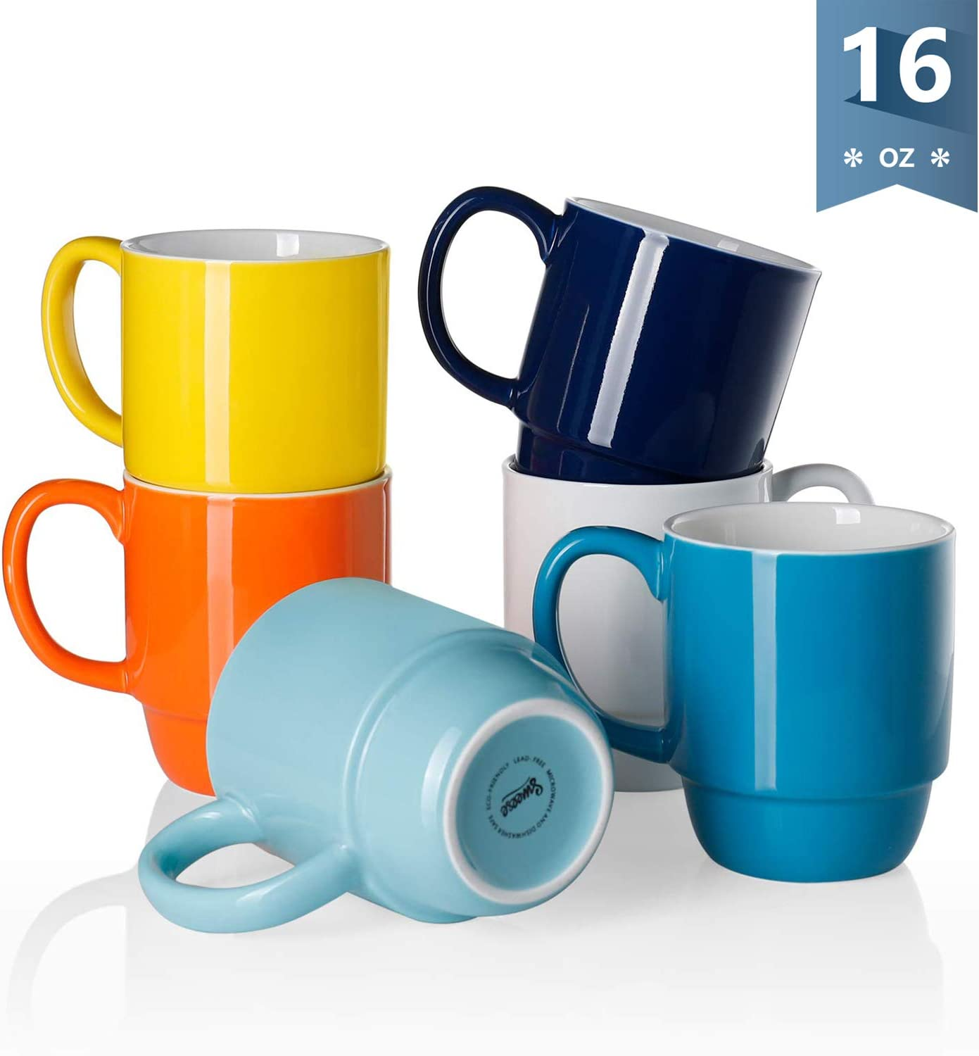 Sweese 605.002 Porcelain Stackable Mug Set - 16 Ounce for Coffee, Tea, Cocoa and Mulled Drinks - Set of 6, Hot Assorted Colors