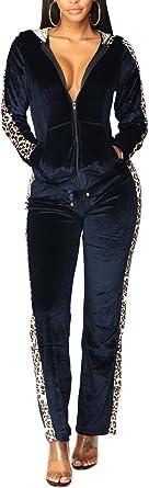 Womens Velvet Leopard Printed Zipper Hoodie Jacket 2 Piece Tracksuits Sweatsuits Set