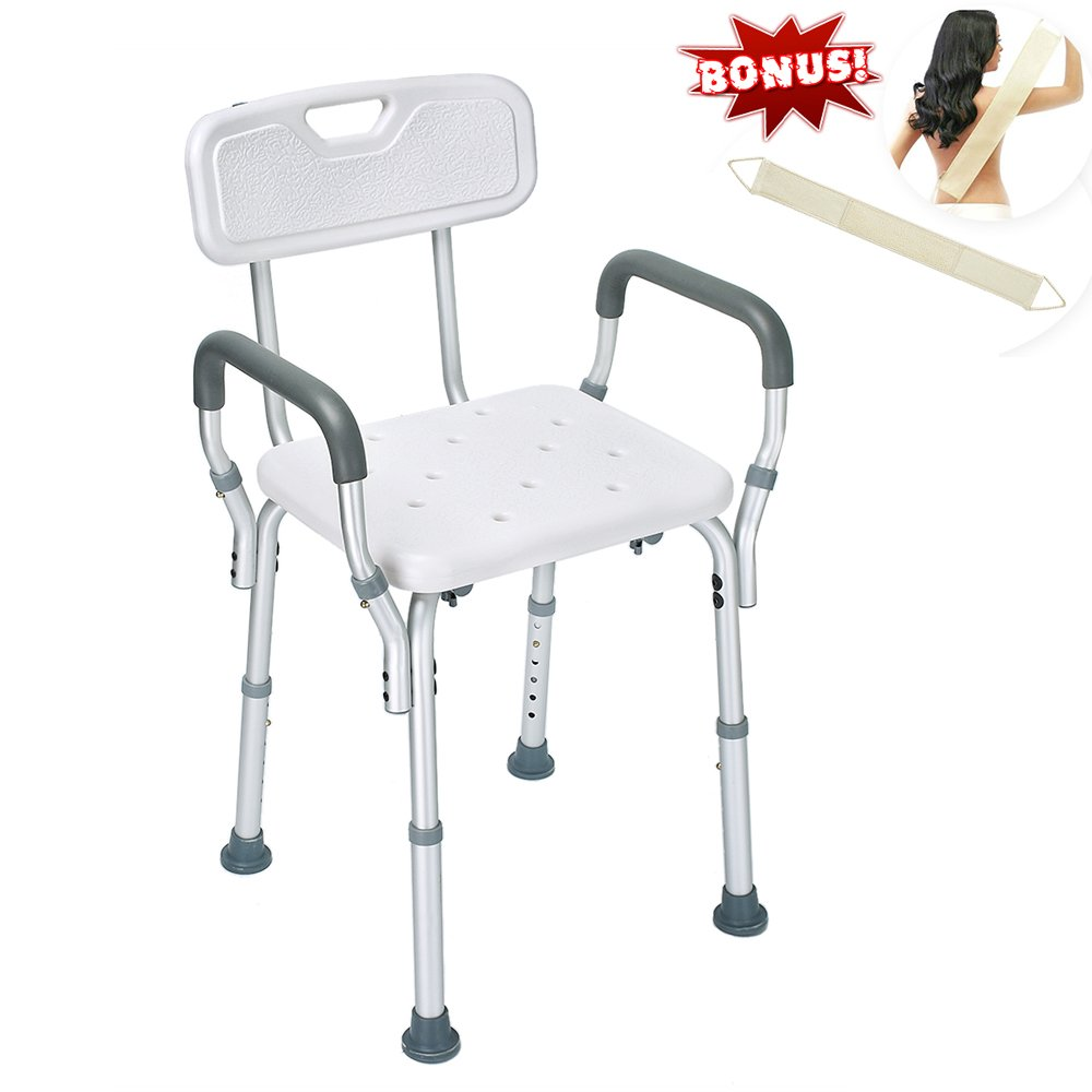 Health Line Tool-Free Assembly Shower Chair Bath Bench Stool Adjustable Height with Removable Back and Arms & Non-Slip Feet - w/Bonus Loofah Back Scrubber