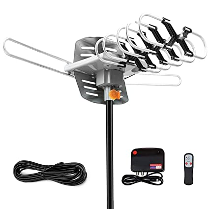 150 Miles Range-Amplified Digital Outdoor TV Antenna with Mount Pole-4K//1080p