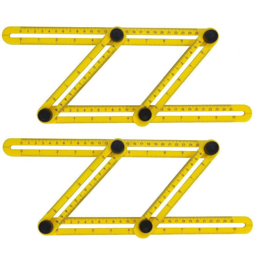 Angle Template Tool, SKYROKU Multi Angle Template Ruler Tool Measures All Angles for Builders Craftsmen Handymen, 2 Pack