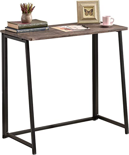 Liink1Ga Foldable Writing Table/Home Office Study Computer Desk/PC Laptop Gaming Desk/No Assembly Required/School Student Study Desk/Walnut