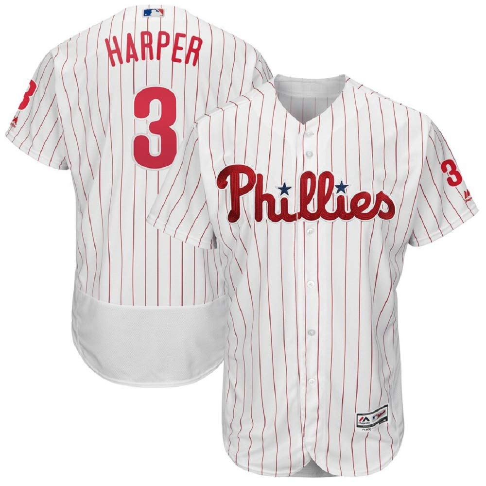 outlet store 6b574 6ab8a Majestic Athletic Bryce Harper Philadelphia Phillies #3 Men's White Home  Flex Base Player Jersey