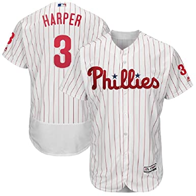 34992d2f184 Majestic Athletic Bryce Harper Philadelphia Phillies #3 Men's White Home  Flex Base Player Jersey (