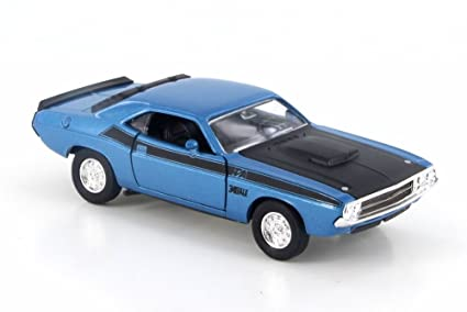 Amazon Welly 1970 Dodge Challenger Ta Blue W Black 43663d