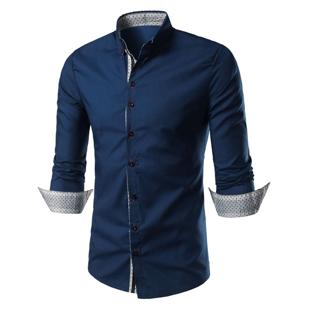 C2S Men's Regual Fit Solid Long Sleeves Dress Shirts for More Colors ST017 (Navy, L)
