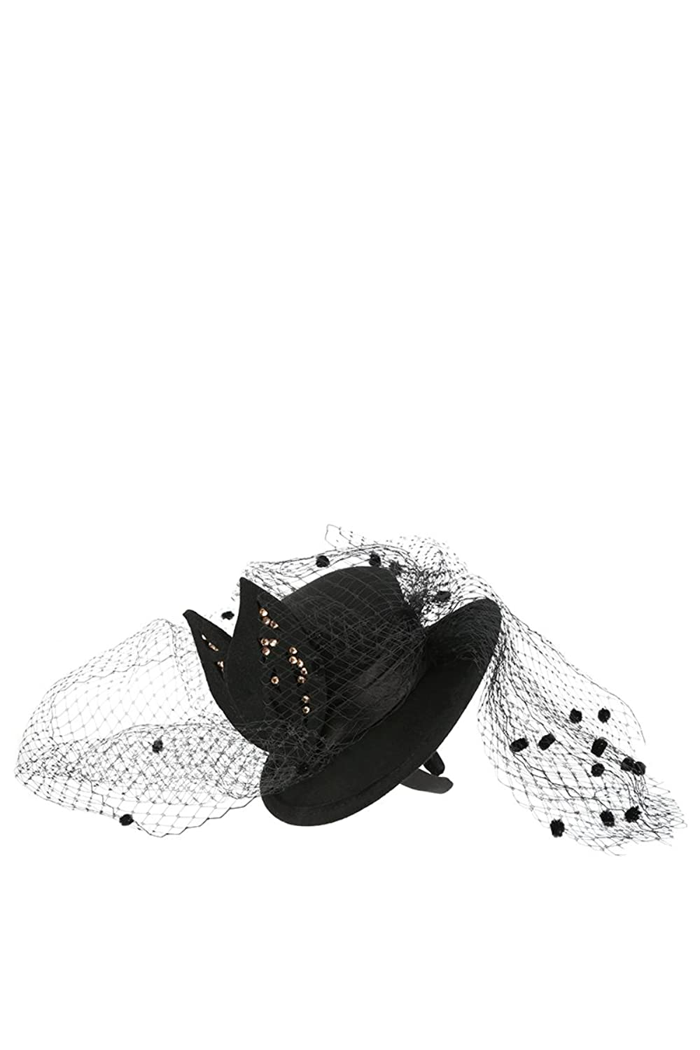 MeshMe Womens Black Fashion Headpiece Hat Fascinator with Mesh Net