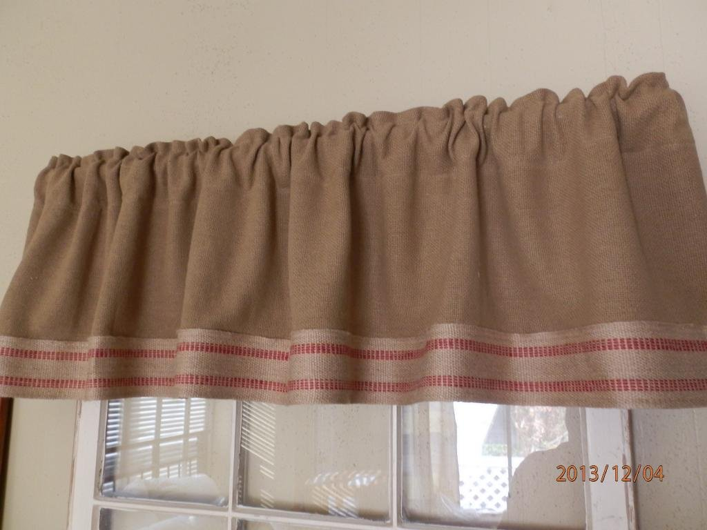 Burlap window treatments - Amazon Com Burlap Farmhouse Window Valance With Red Stripe Jute Trim Home Kitchen