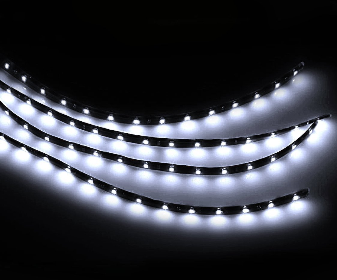 Zento Deals 30cm White LED Car Flexible Waterproof Light Strips (Pack of 4) SR12