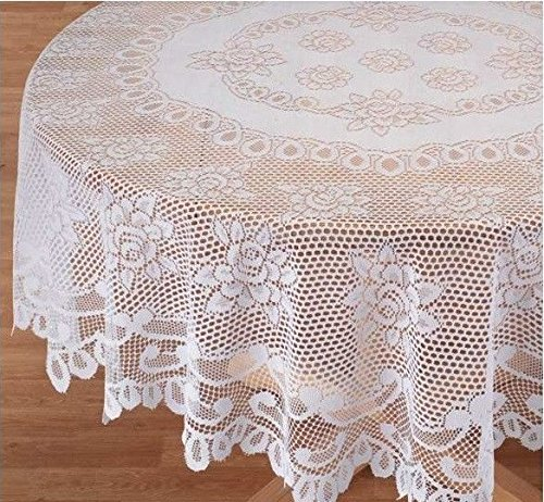 Christmas Tablescape Décor - Elegant and delicate white rose design lace tablecloth