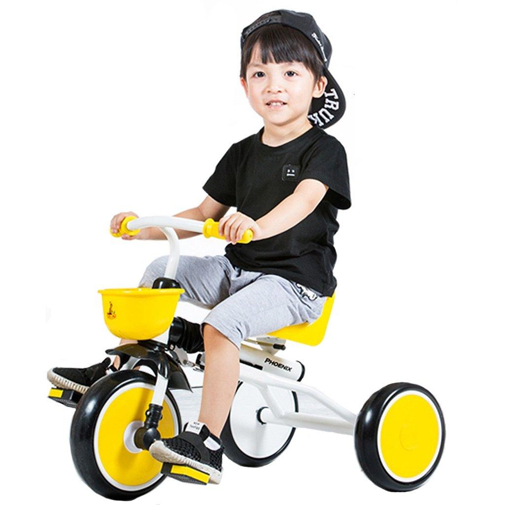 Kinderfahrräder Einräder Kinder Dreirad Kinderkinderwagen Fahrrad Kinderwagen 1-3 Jahre alt Faltbare Tragbare Babyfahrrad (Farbe   Gelb, Größe   79  50  39cm)