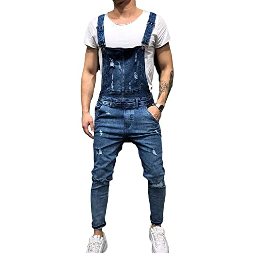 d84bf6bbde4d FULA-bao Men s Distressed Denim Bib Overalls Jumpsuit Ankle Length Ripped  Skinny Jeans Coveralls with Pocket at Amazon Men s Clothing store