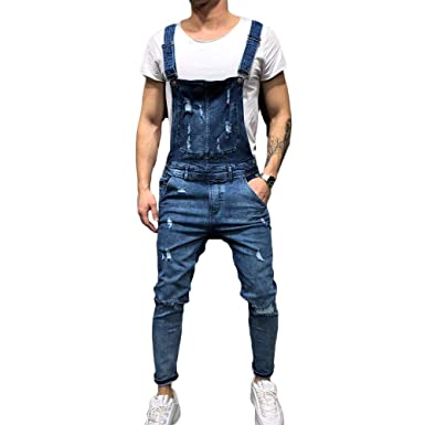 f856c319016b FULA-bao Men s Distressed Denim Bib Overalls Jumpsuit Ankle Length Ripped  Skinny Jeans Coveralls with Pocket at Amazon Men s Clothing store
