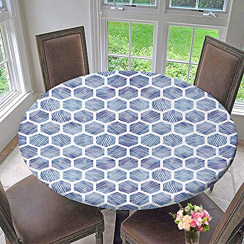 """PINAFORE HOME Round Fitted Tablecloth honeycombwith Drawn Textures for All Occasions 35.5""""-40"""" Round (Elastic Edge)"""
