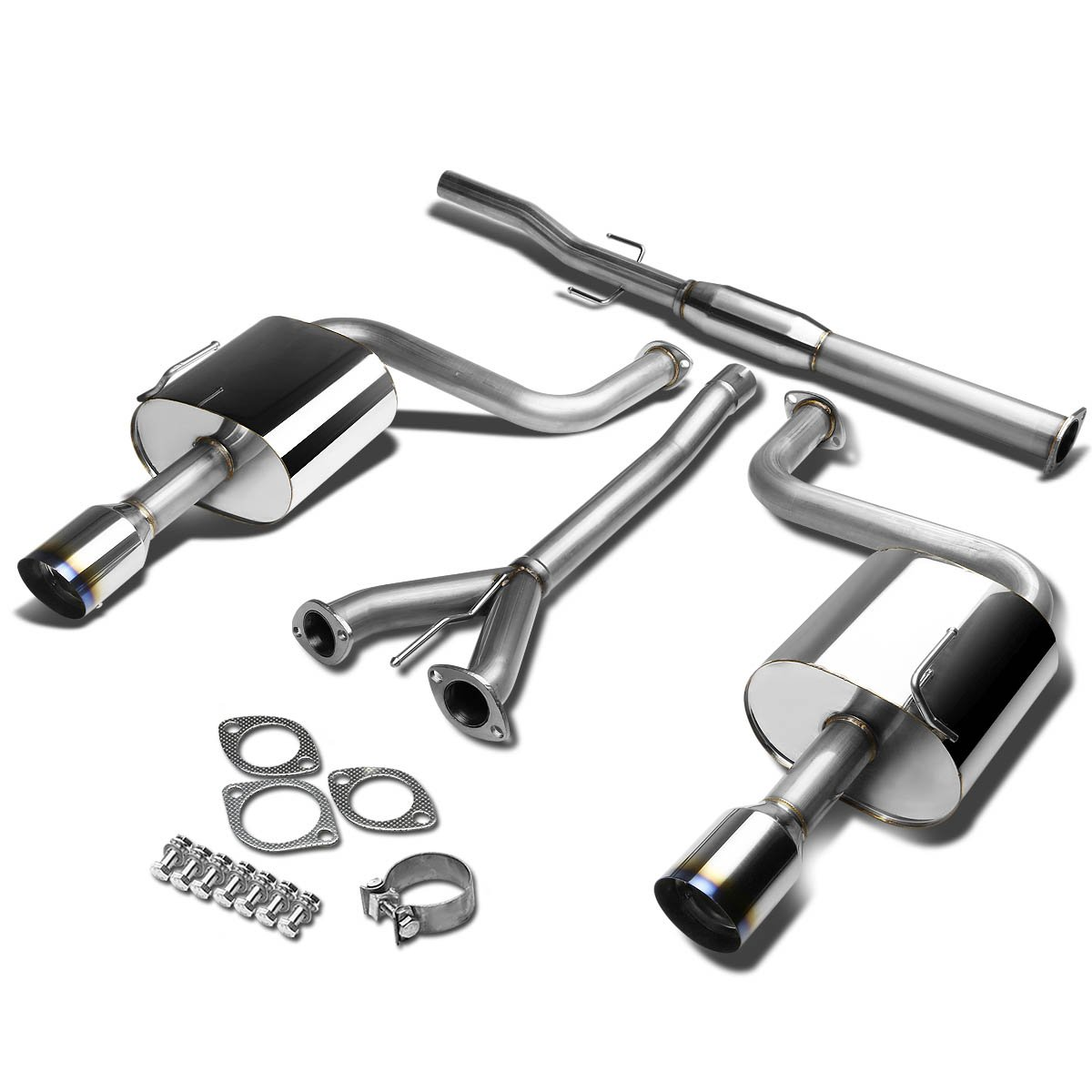 For 09-15 Nissan Maxima A35 VQ35 Stainless Steel 4 inches Burnt Muffler Tip Catback Exhaust System