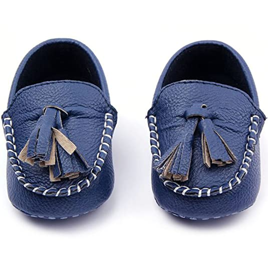 c32bc8a258d Amazon.com  Weixinbuy Toddler Baby s Faux Leather Loafers Soft Flat Boat  Shoe Blue 4-8M  Shoes