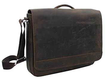 aa0b05d89c5 Vagabond Traveler 15 quot  Cowhide Leather Casual Messenger Bag with Top  Lift Handle L56. Dark