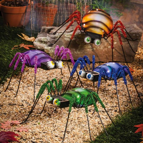 Google Eyed Lighted Spider Statuary, 4 Assorted colors by Evergreen Garden