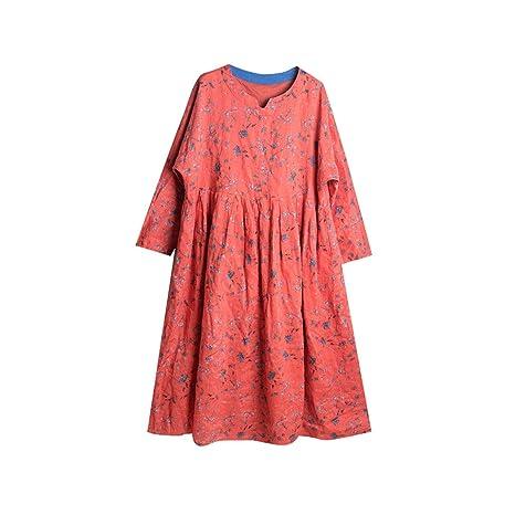 HECHEN Vestido de Lino para Mujer - Falda Floral roja - Suelta ...