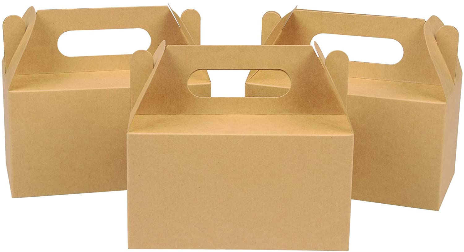 LOKQING 30 Pack Gable Boxes Goodie Boxes Small Treat Box with Handles Gift Boxes for Kids 7x4x4 inch(Brown)
