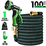 Todoya 100 ft Expandable Garden Hose,Lightweight Garden Water Hose with 3/4 inch Solid Brass Fittings, 9 Function Spray Nozzle Expanding Garden Hoses,Durable Outdoor Gardening Flexible Hose for Yard