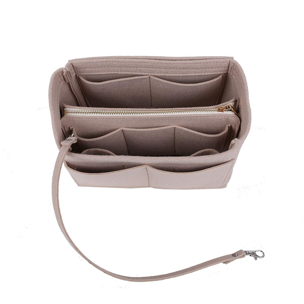 Ming Wei Felt Insert Bag Organizer Bag in Bag for Handbag Purse Organizer ... (Large 0, Cream Beige)