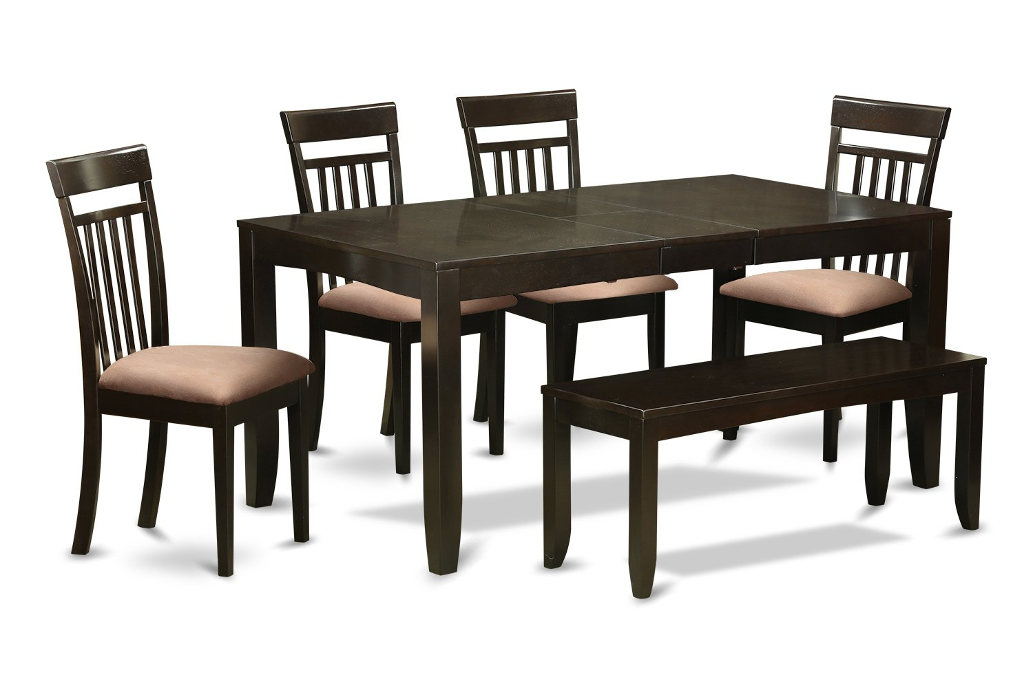 LYCA6-CAP-C 6 Pc Kitchen Table with bench-Kitchen Tables with Leaf and 4 Kitchen Dining Chairs plus Bench