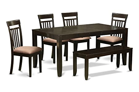 East West Furniture LYCA6-CAP-C 6-Piece Kitchen Table with Bench, Cappuccino Finish