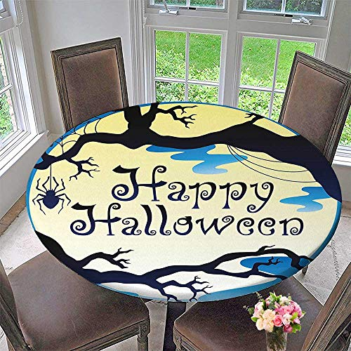 Mikihome Elasticized Table Cover Collection Happy Halloween Quote Spooky Night Moon and Branches Shadows Haunted Lights Yellow Machine Washable 59
