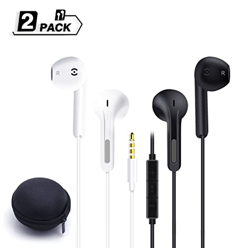 Premium Earphones/Headphones with Stereo Mic&Remote Control for iPhone, iPad, iPod, Samsung Galaxy, Sony, LG, Huawei, HTC, MP3 Players and More Both For iPhone and Android Earbuds (2pack White+black)