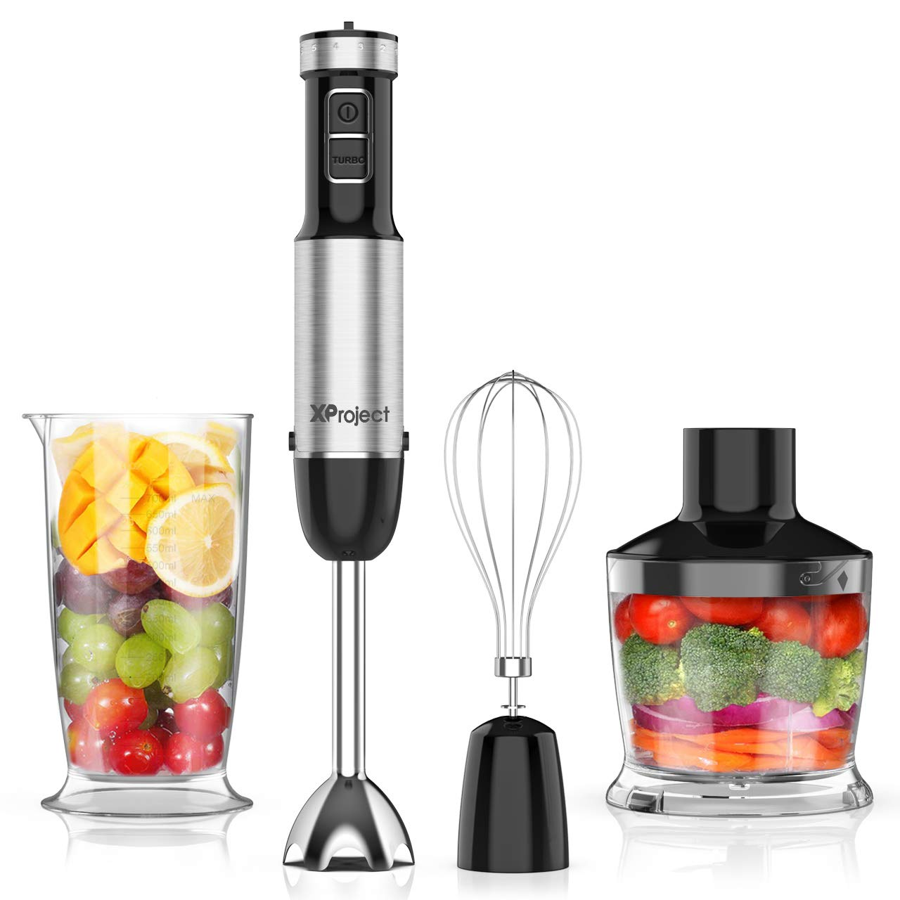 XProject 5-in-1 Hand Blender with 12 Speed,Stainless Steel Stick Blender, 800W Powerful Immersion Blender Includes BPA-Free Food Chopper/Egg Beater/Beaker Hand Mixer by XProject