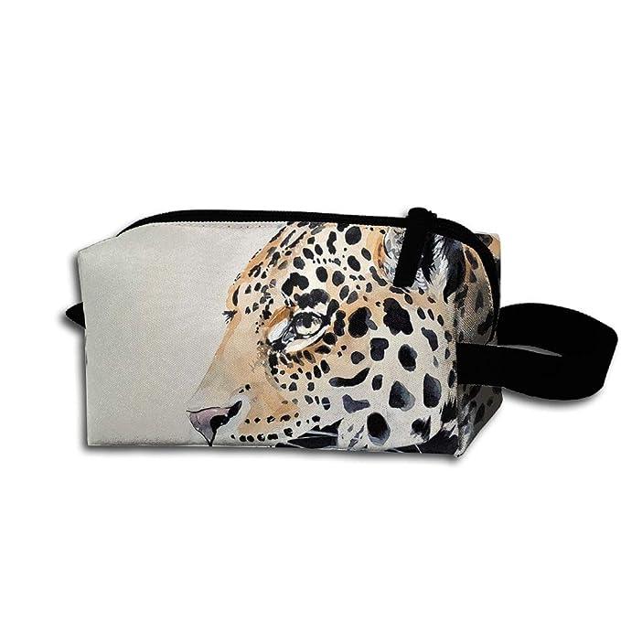 4a558d8ce429 Amazon.com: Womens Girls Cosmetic Bag Travel Handbag Bag Leopard Cat Prints  Makeup Toiletry Bag Zipper Wallet With Wrist Band: Clothing